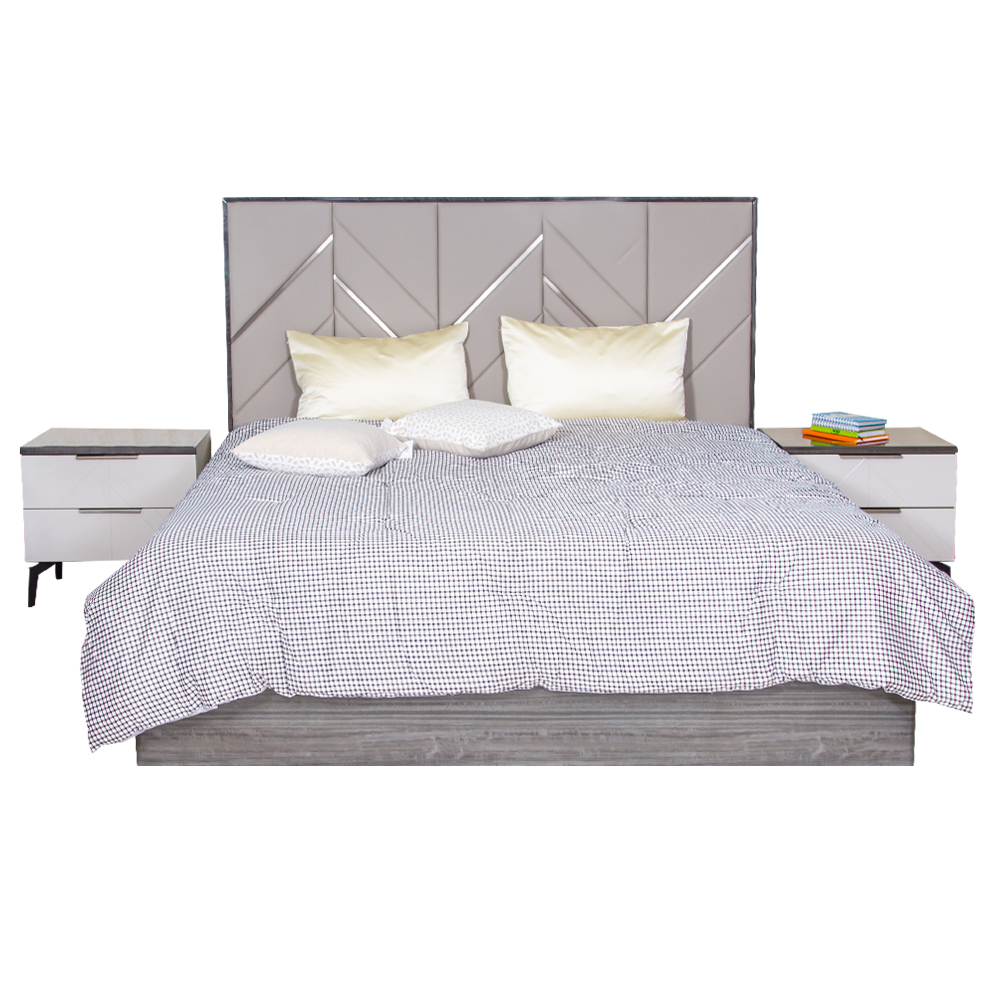 PERFECT LINE : King Bed (183cm x 203cm)#TB167BK+ 2 Night Stands #RB167NE 1