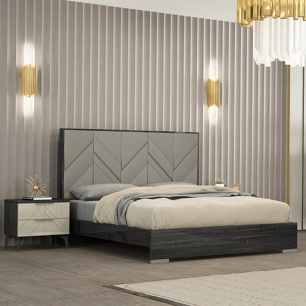 PERFECT LINE : King Bed (183cm x 203cm)#TB167BK+ 2 Night Stands #RB167NE