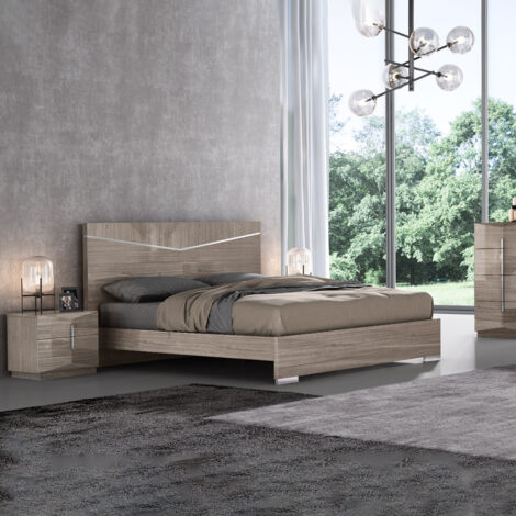 Perfect Line: King Bed, (183x203)cm + 2 Night Stands, BeigeAngley