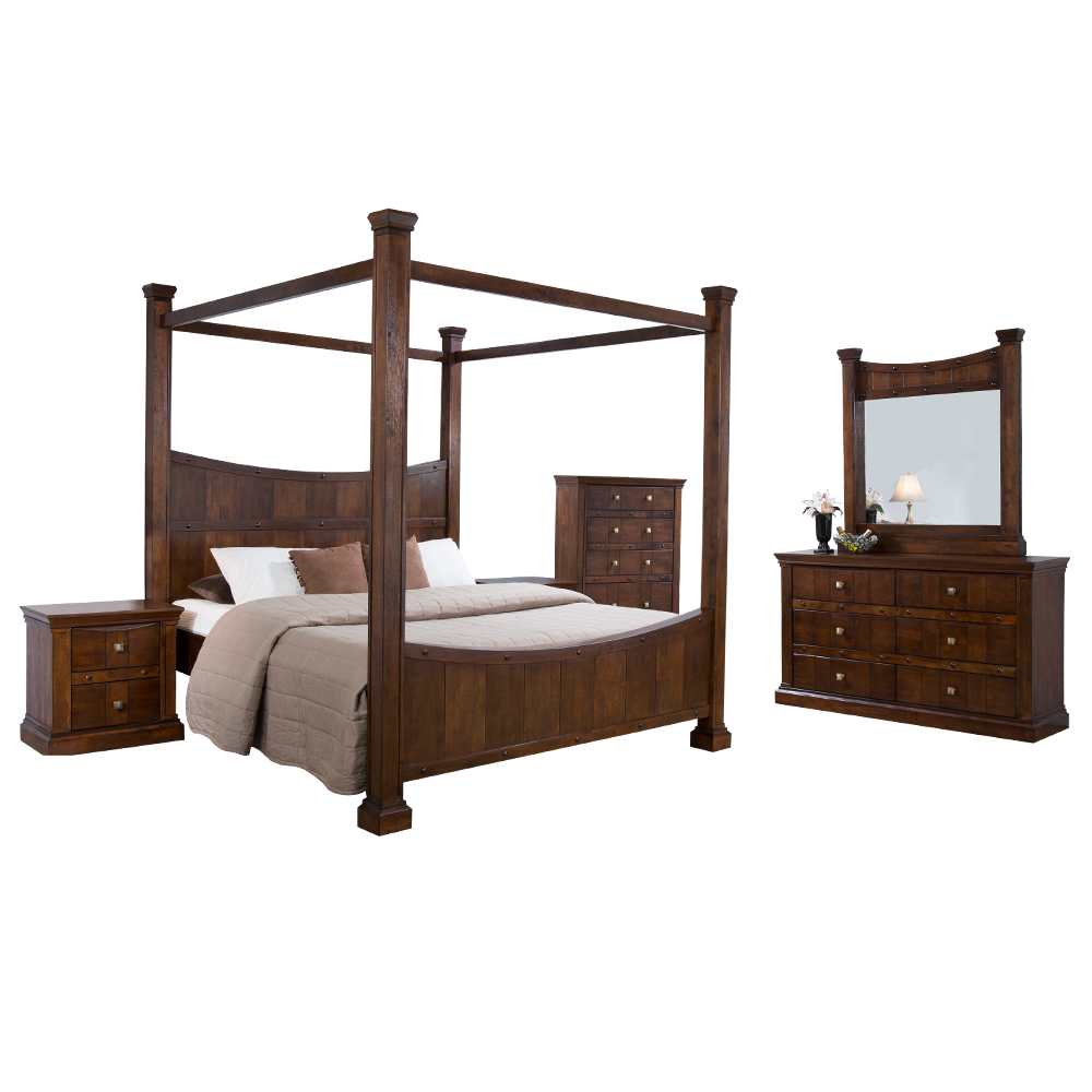 ALEXANDRIA: 4-Poster King Bed (180x200cm) + 2 Night Stands + 1