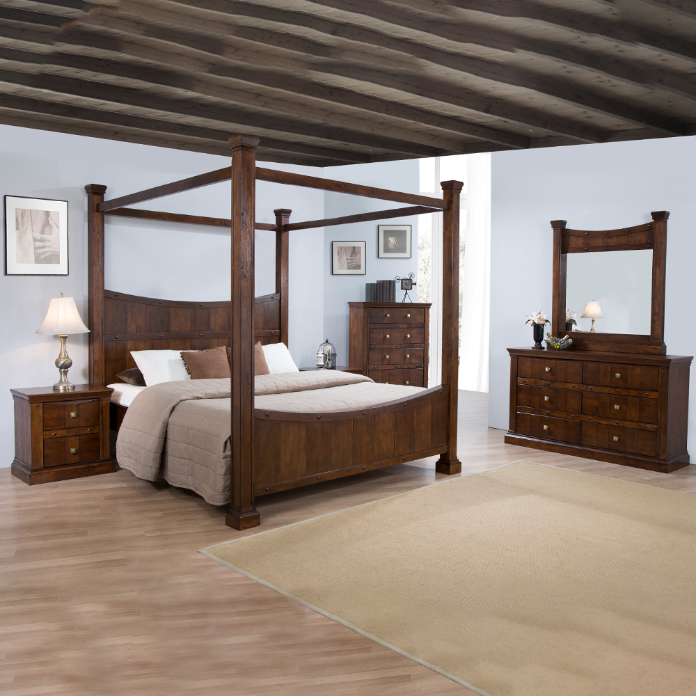 ALEXANDRIA: 4-Poster King Bed (180x200cm) + 2 Night Stands +