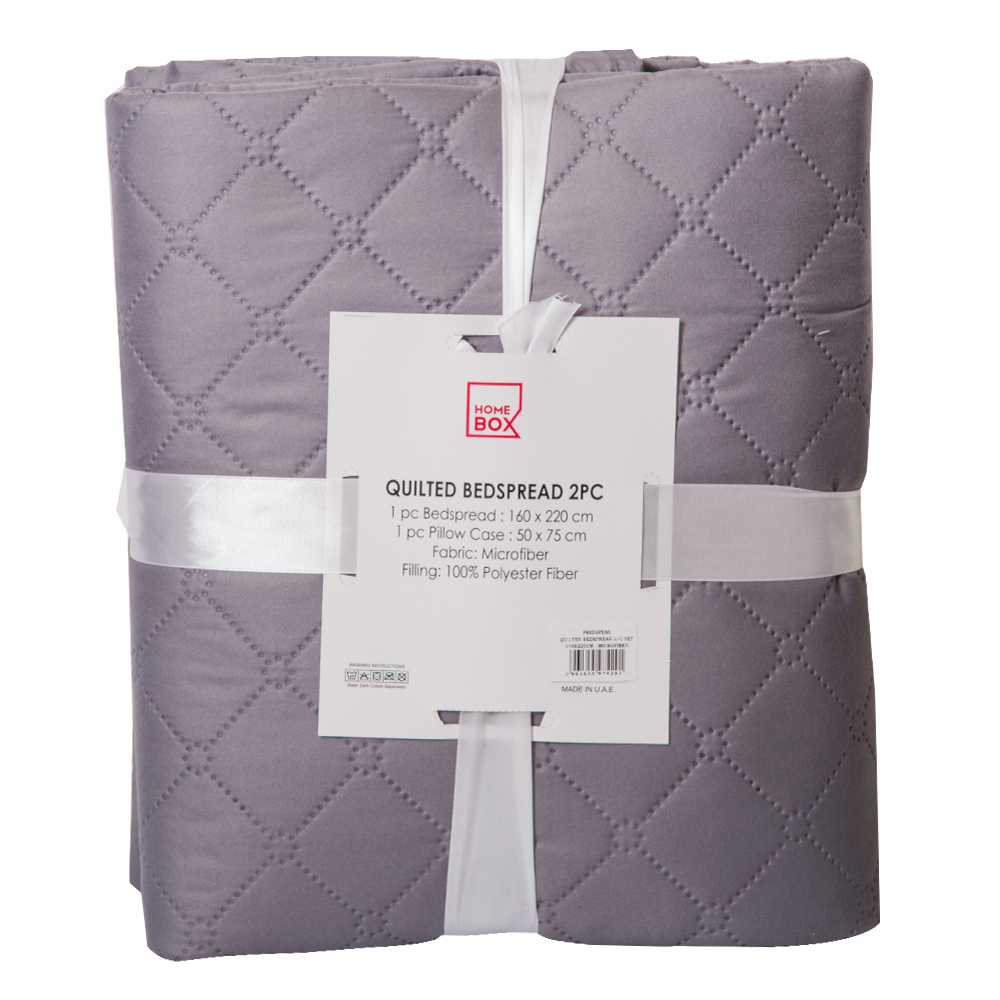 Home Box : Quilted Microfiber Bed Spread Set: 2 Pcs: 160x220cm 1
