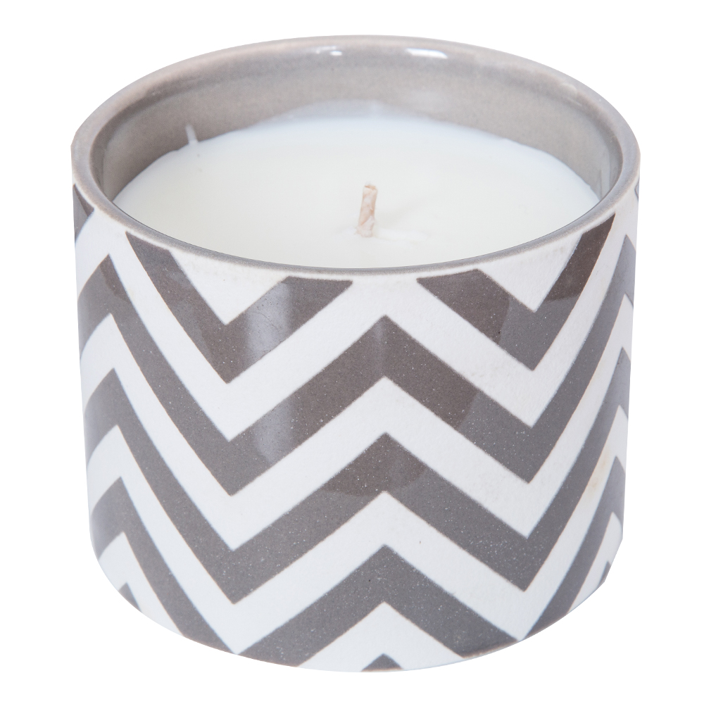 Clear Cotton Scented Candle In Ceramic Pot: 7oz #RL-UCF97WH 1