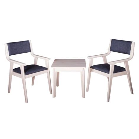 End Table- Wood Top (56x56x51)cm + 2 Arm Chairs (53x60x86)cm, Black/White 1
