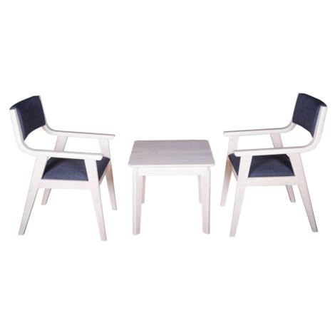 End Table- Wood Top (56x56x51)cm + 2 Arm Chairs (53x60x86)cm, Black/White