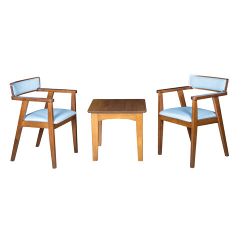 End Table- Wood Top (56x56x51)cm + 2 Dining Arm Chairs (55x53x76)cm, Blue/Walnut 1