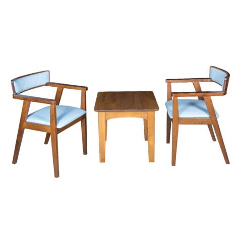 End Table- Wood Top (56x56x51)cm + 2 Dining Arm Chairs (55x53x76)cm, Blue/Walnut