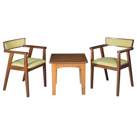 End Table- Wood Top (56x56x51)cm + 2 Dining Arm Chairs (55x53x76)cm, Green/Walnut 1