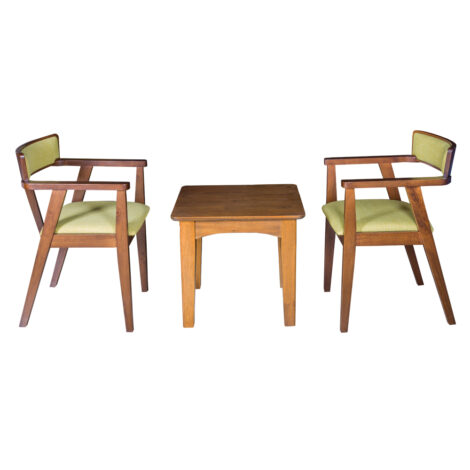 End Table- Wood Top (56x56x51)cm + 2 Dining Arm Chairs (55x53x76)cm, Green/Walnut
