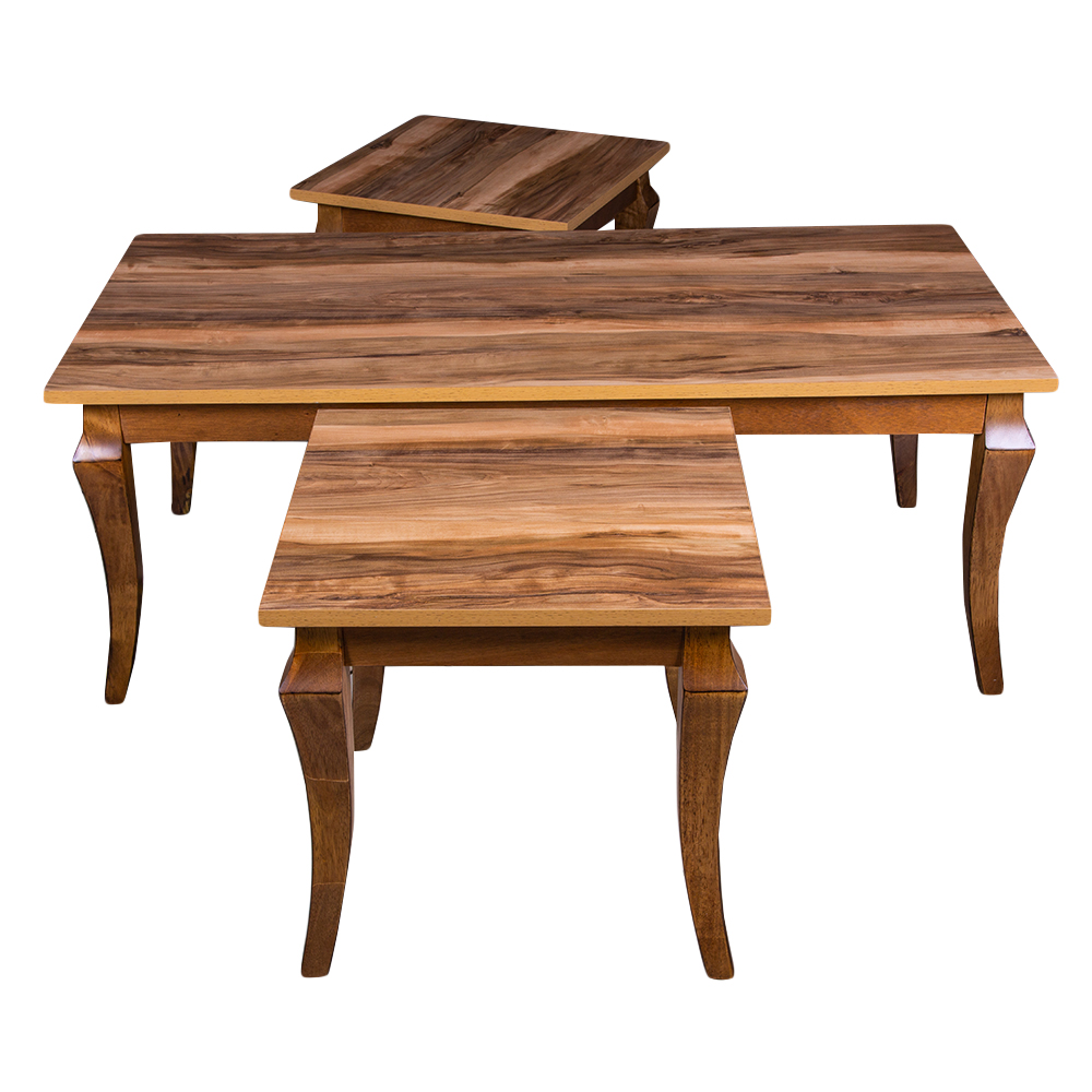 SUSU: Wooden Coffee Table + 2 End Tables 1