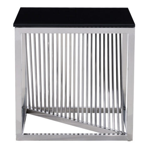 Glass Top Side Table (49x49x51)cm, Silver/Black 1