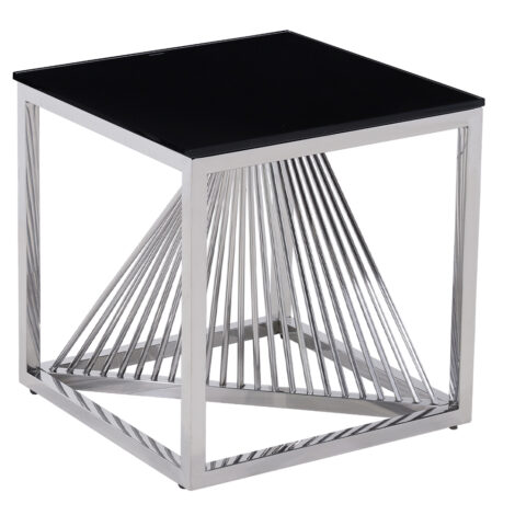 Glass Top Side Table (49x49x51)cm, Silver/Black