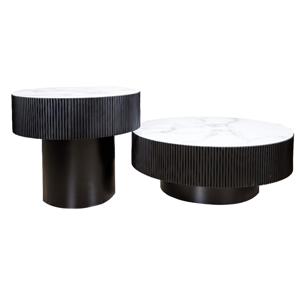 Victory: Coffee Table:Φ80x30cm: Ref.SK1905A + Side Table: Φ60x50cm Ref.SK1905B