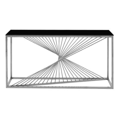 Glass Top Console Table (160x45x80)cm, Silver/Black 1