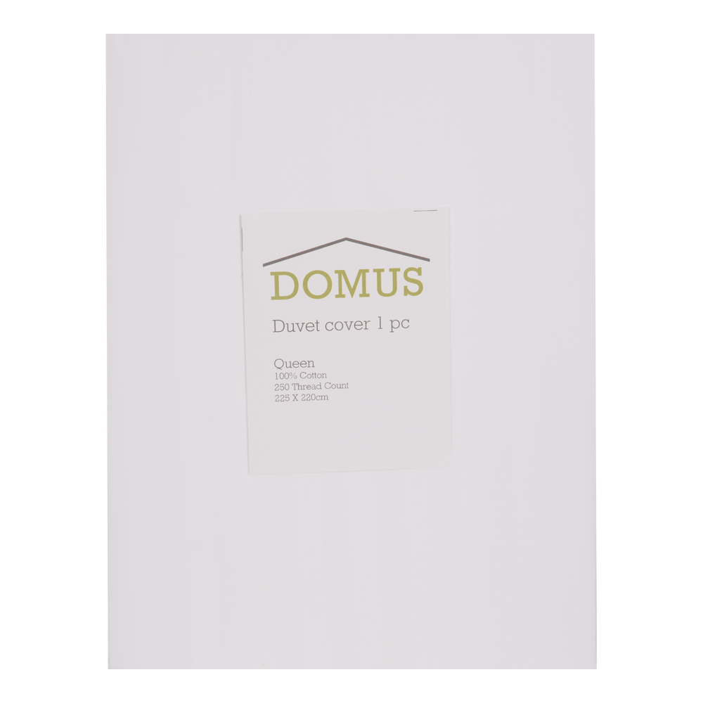 DOMUS: Duvet Cover: Queen, 250 100% Cotton Stripe: 225×220 1