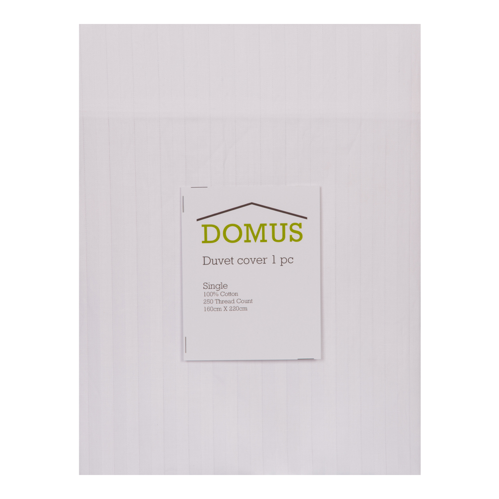 DOMUS: Duvet Cover: Single, 250Tc 100% Cotton Stripe: 160x220cm 1