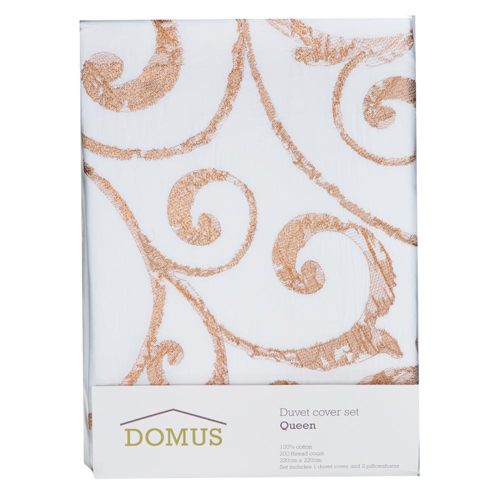 DOMUS: Queen Duvet Cover Set: 3pc ; Duvet Cover, 220x230cm + 2 P/Sham #H203-1 1