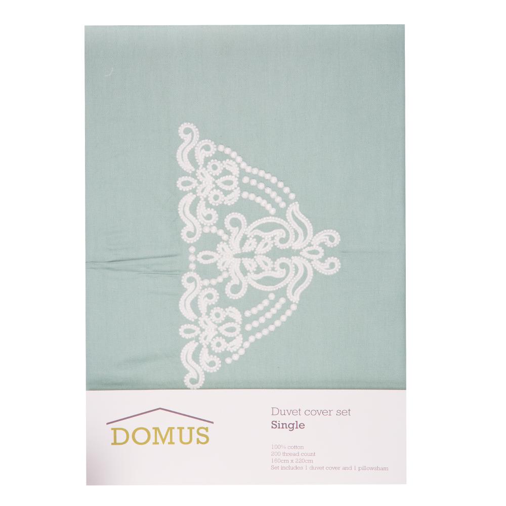 DOMUS: Twin Duvet Cover Set: 3pc ; Duvet Cover, 160x220cm + 2 P/Sham #F032-2 1