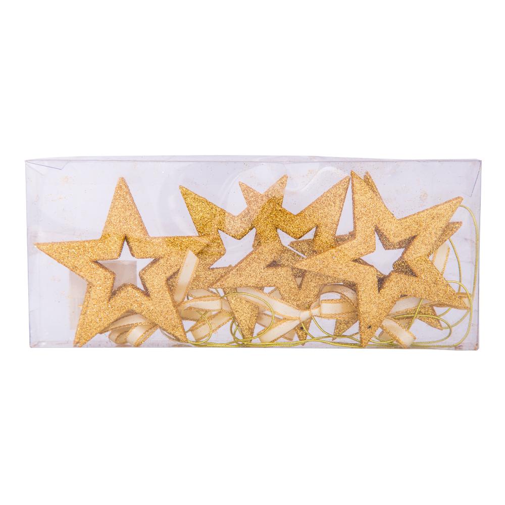 Decoration: Eva Star, 8cm, Set 6pcs #D08-B7139G