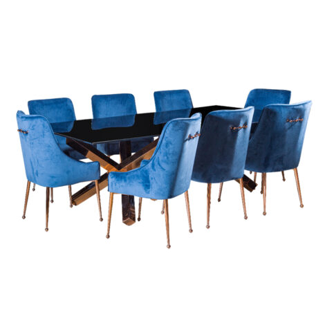 Glass Top Dining Table (240x120x75)cm + 8 Side Chairs, Rose Gold/Blue 1