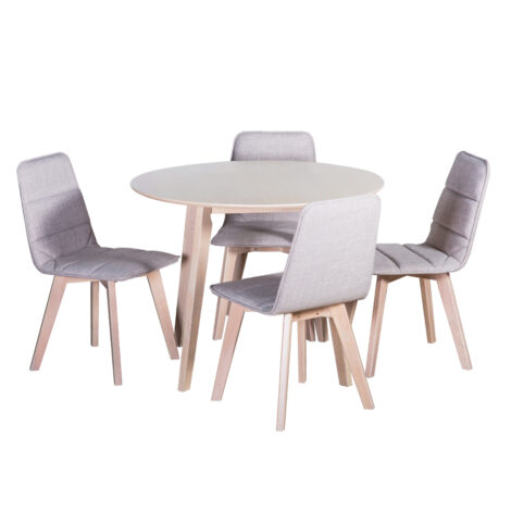 Round Dining Table- Wood Top (100×74)cm + 4 Side Chairs (47x53x85)cm, Grey/White 1
