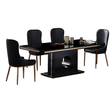 Select: Dining Table + 8 Side Chairs, GlossyBlack/RoseGold 1