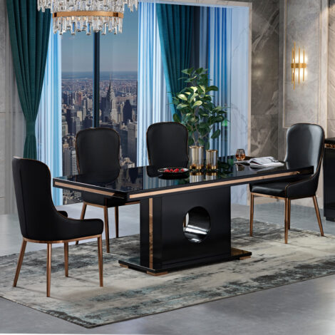 Select: Dining Table + 8 Side Chairs, GlossyBlack/RoseGold