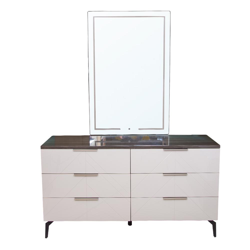 PERFECT LINE: Dresser #RB167DA(156.5×48.5x85cm) + Mirror With LED Light(120x80x2