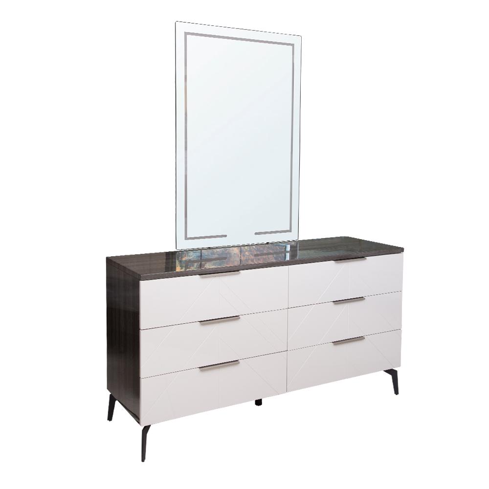 PERFECT LINE: Dresser #RB167DA(156.5x48.5x85cm) + Mirror With LED Light(120x80x2.0cm) #GB167MA-L
