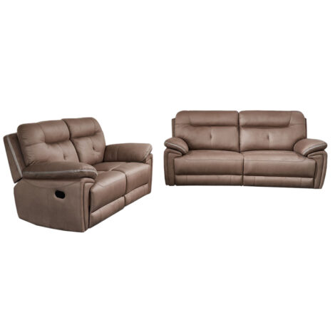 Small Fabric Recliner Sofa; 5 Seater (3RR+2RR), Taupe 1