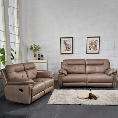 Small Fabric Recliner Sofa; 5 Seater (3RR+2RR), Taupe