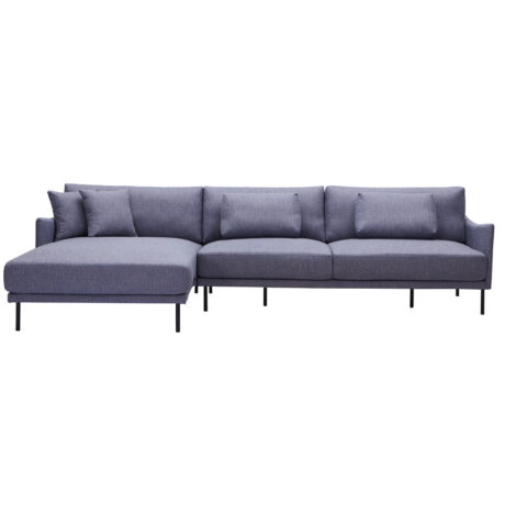 Fabric L-Shaped Sofa With Chaise: (115×162/205×91/79)cm, Grey 1