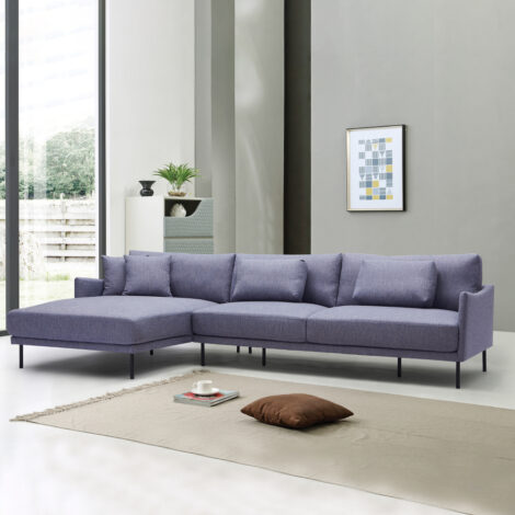 Fabric L-Shaped Sofa With Chaise: (115x162/205x91/79)cm, Grey