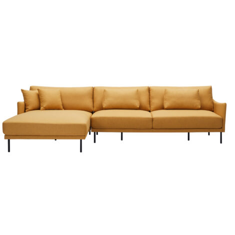 Fabric L-Shaped Sofa With Chaise: (115×162/205×91/79)cm, Yellow 1