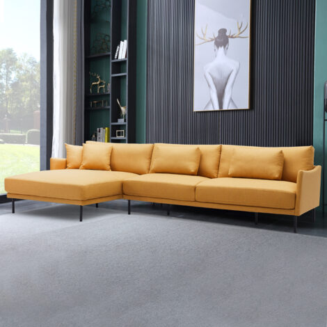 Fabric L-Shaped Sofa With Chaise: (115x162/205x91/79)cm, Yellow