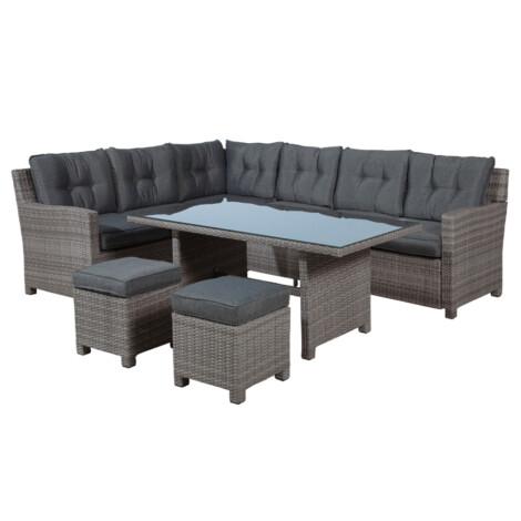 Garden Furniture Set: Blue Bird Outdoor Corner Sofa Set 6-Seater + 1 Dining Table + 2 Footstools, Dark Anthracite 1