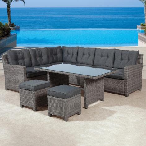 Garden Furniture Set: Blue Bird Outdoor Corner Sofa Set 6-Seater + 1 Dining Table + 2 Footstools, Dark Anthracite