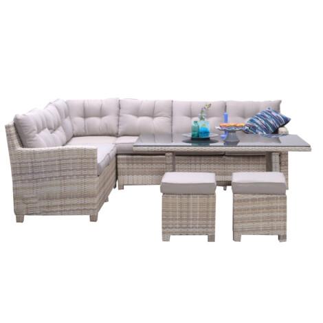 Garden Furniture Set: Blue Bird Outdoor Corner Sofa Set 6-Seater + 1 Dining Table + 2 Footstools, Sand 1