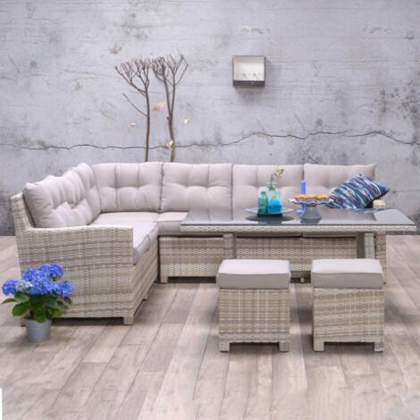 Garden Furniture Set: Blue Bird Outdoor Corner Sofa Set 6-Seater + 1 Dining Table + 2 Footstools, Sand