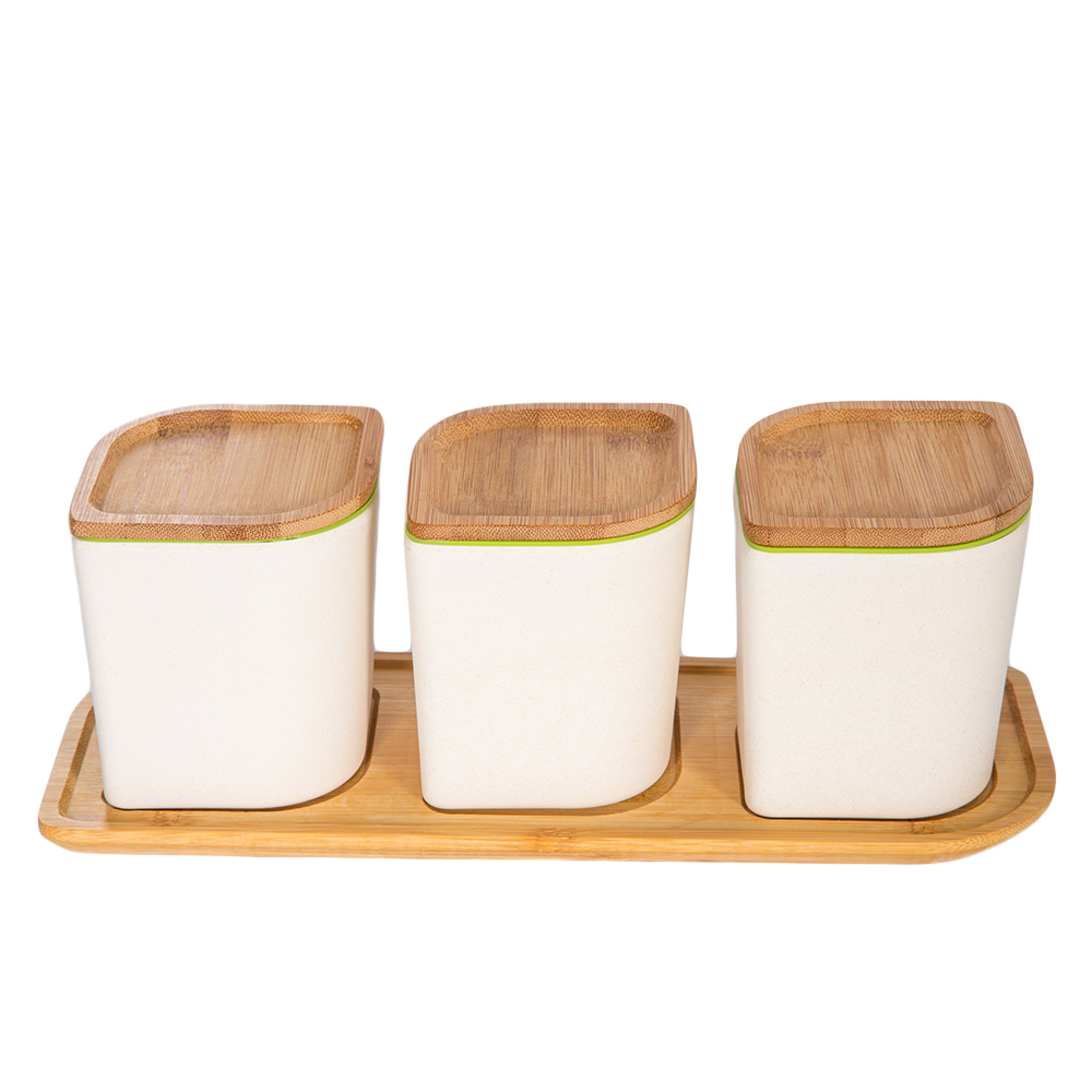 Bamboo Fibre Canister Set; 3pc Ref