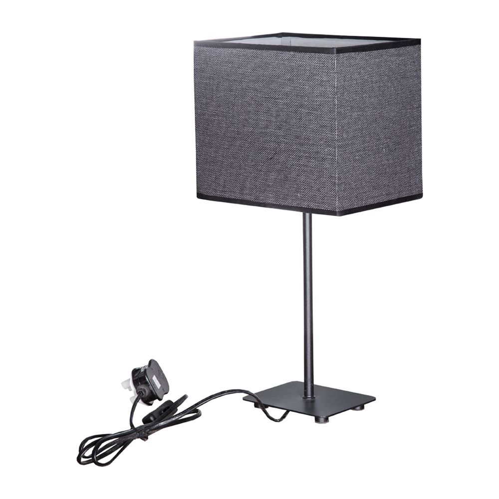 Table Lamp With Plug: Black Iron With Fabric; 1xE14, 21 x 16 x 43cm Ref