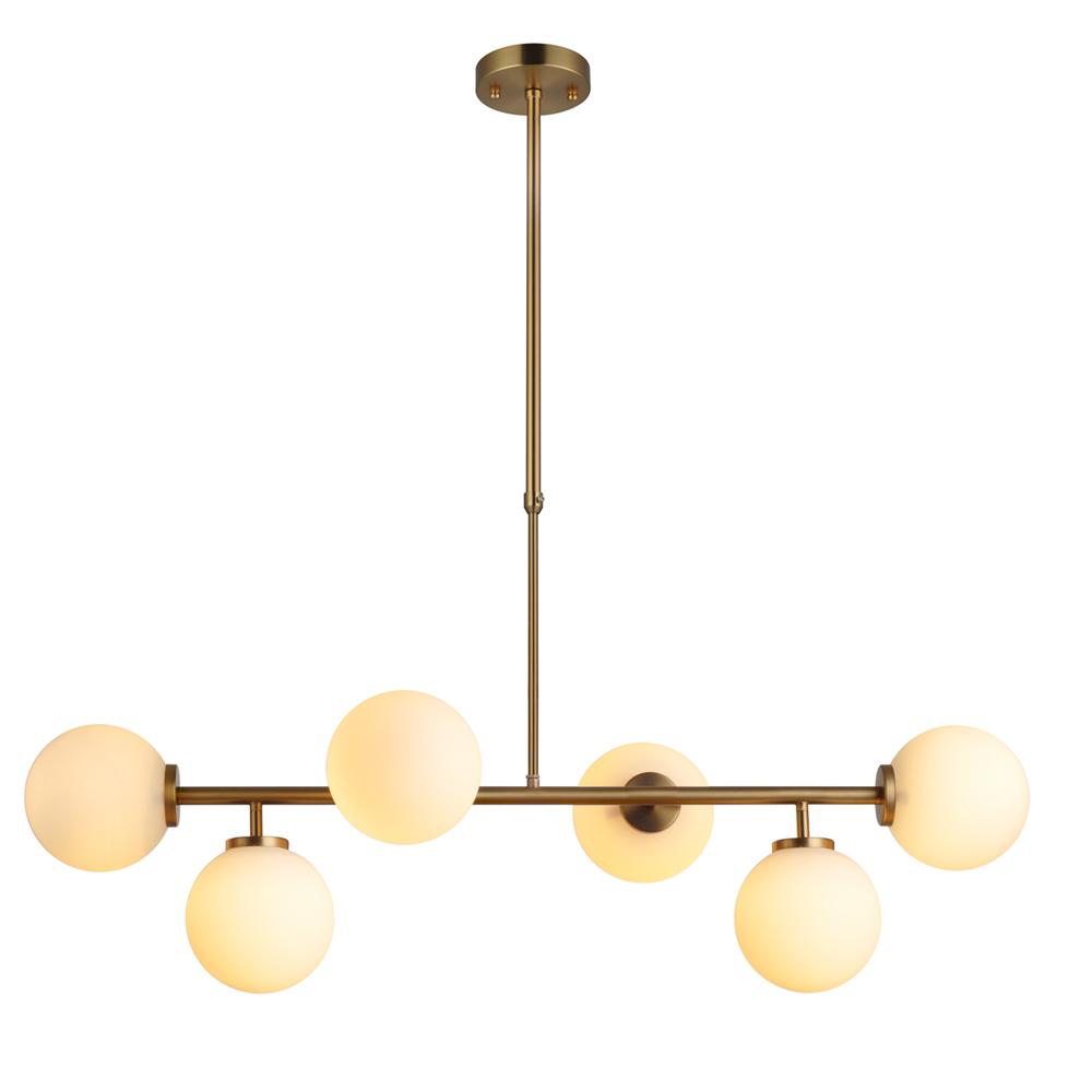Domus: Pendant Lamp: Brushed Brass/Opal Matt, E14 6x40W #V36050/6P/OM/140 1