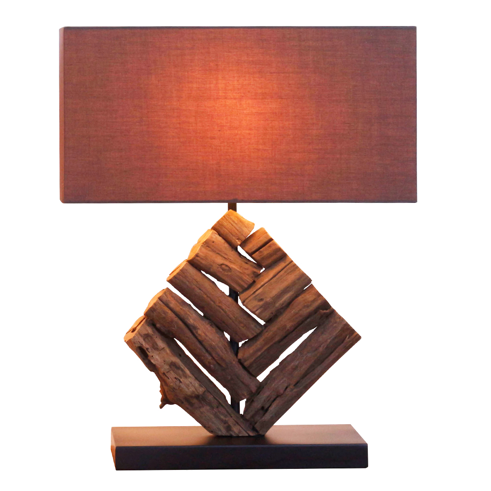 King Mai Sak Pattern Table Lamp With Rectangular Lamp Shade; 25x15x33cm #211257/590005 1