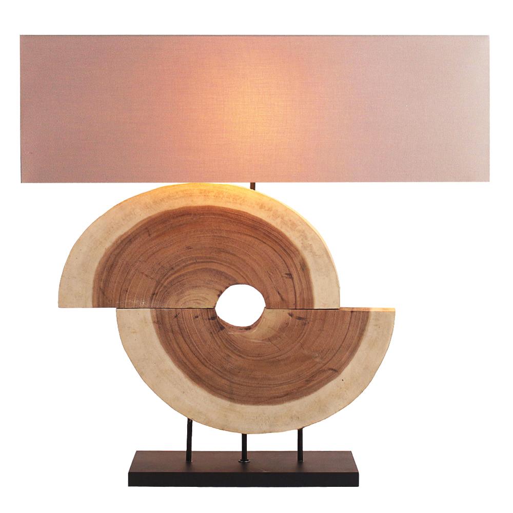 Slab Wood Table Lamp With Rectangular Lamp Shade; 59