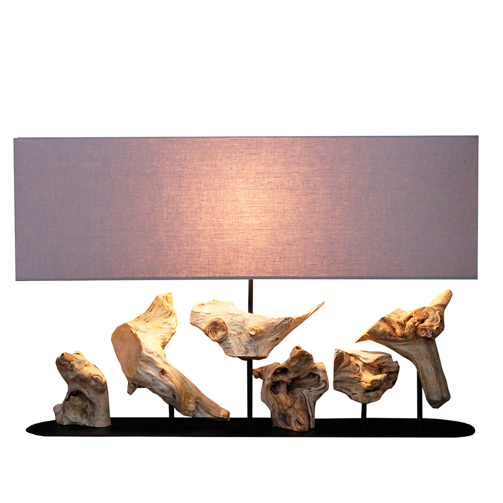 Roots Level Table Lamp With Rectangular Lamp Shade; 80x20x36cm #211296/590035 1