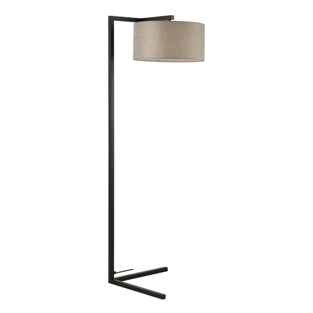 Domus: Floor Lamp: Black/Grey Linen, E27x1 #V40022/1F/GY/400 1