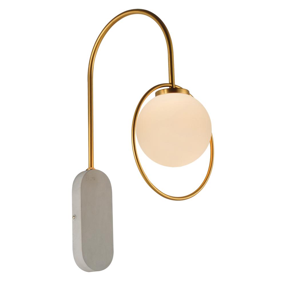 Domus: Wall Lamp: Cement/Brushed Brass/Opal Matt, E14x1 #V40023/1W/BS/220 1