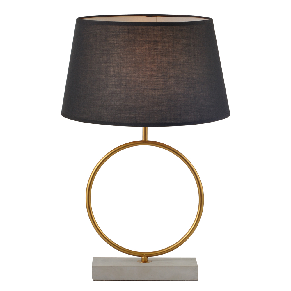 Domus: Table Lamp: Cement/Brushed Brass/Black, E27x1 #V40024/1T/BK/350 1