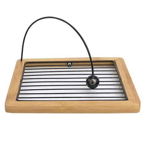Bamboo/Iron Napkin Holder; (18x18x9)cm, Black 1