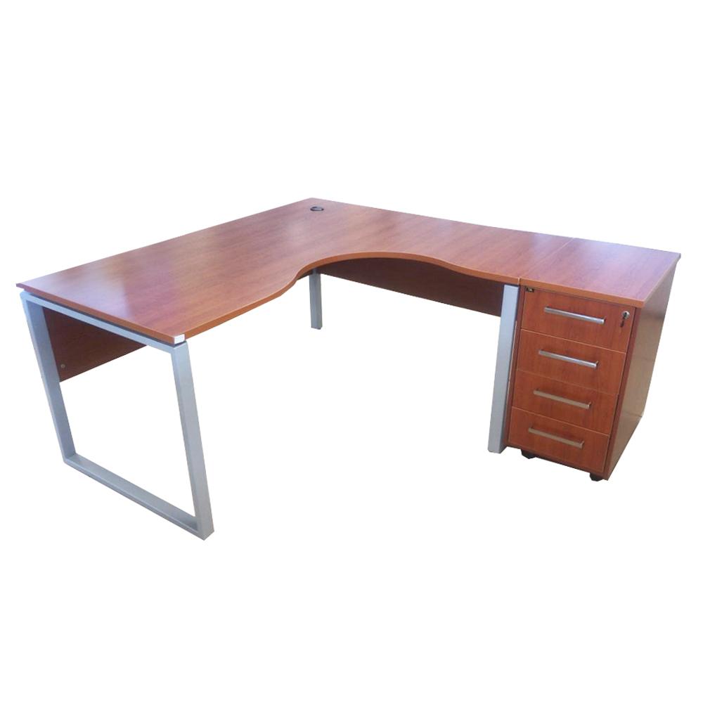 MEX: L-Shape Office Desk + 4-Drawers Mobile Pedestal; 160/140×80/60x75cm #BR-01/02-TBR/MP 1